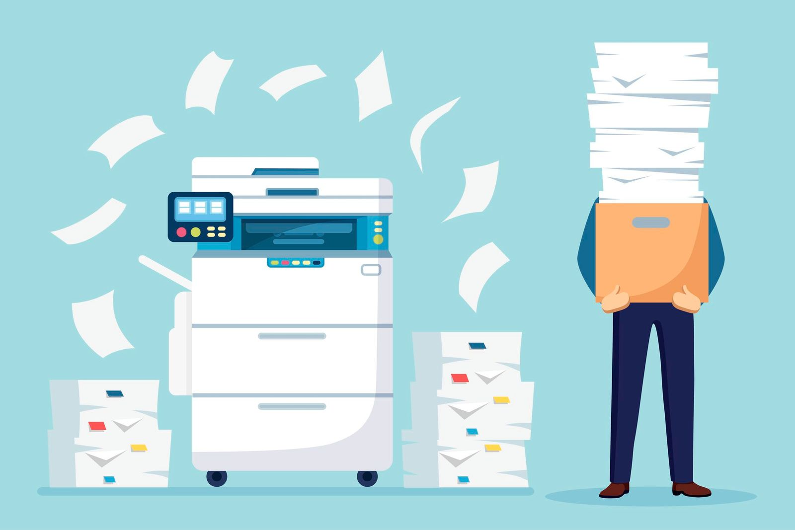Pile of paper, busy businessman with stack of documents in carton, cardboard box. Paperwork with printer, office multifunction machine