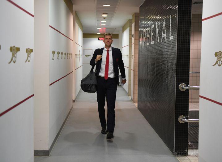 Per Mertesacker in the Arsenal changing room