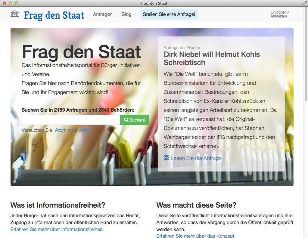 NUR ALS ZITAT Screenshot Frag den Staat
