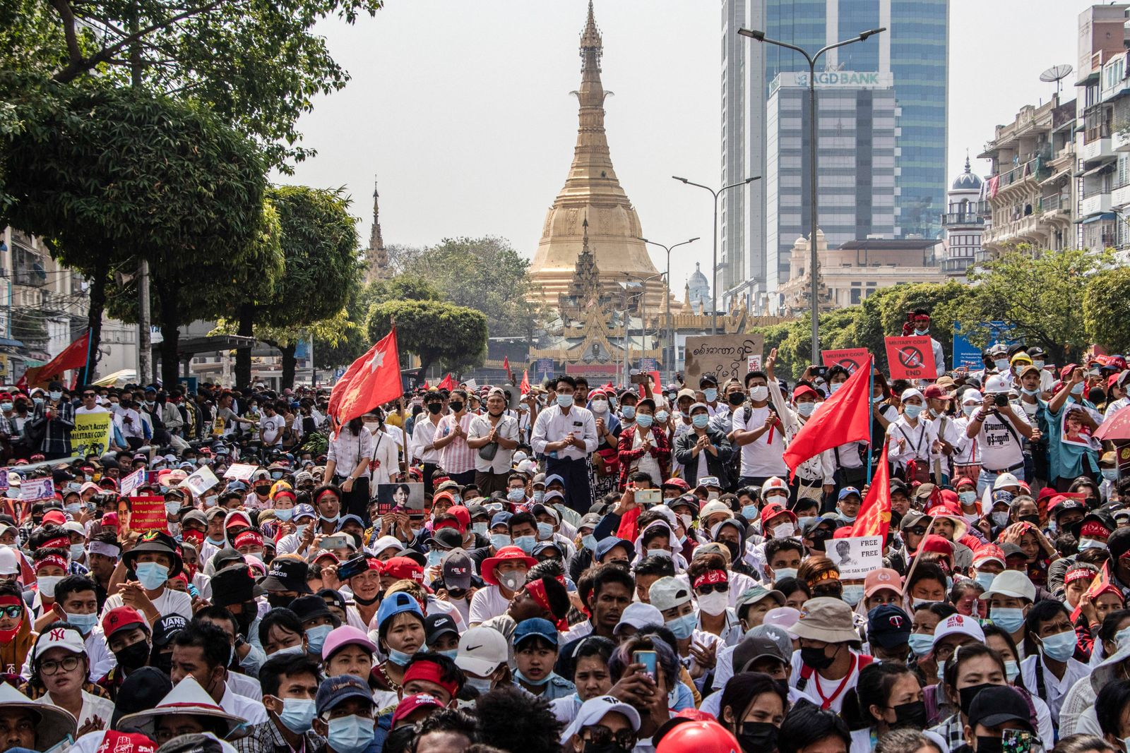 February 22, 2021, Yangon, Myanmar: Protesters gather as they take part during the demonstration..A massive crowd took t