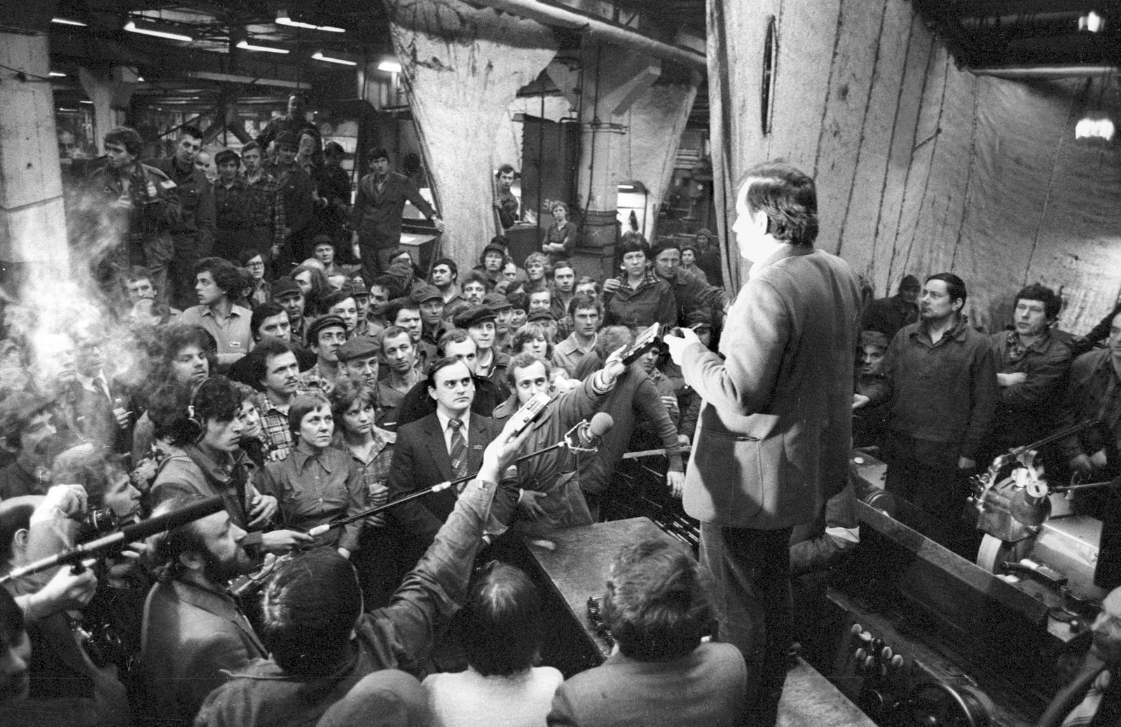 Lech Walesa during a strike at the Ursus Mechanical Works