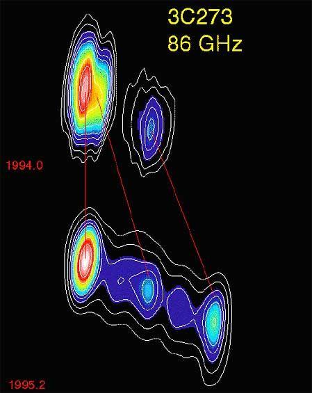 """VLBI-Aufnahme vom Quasar 3C273: """"Direkter Blick ins Herz"""""""