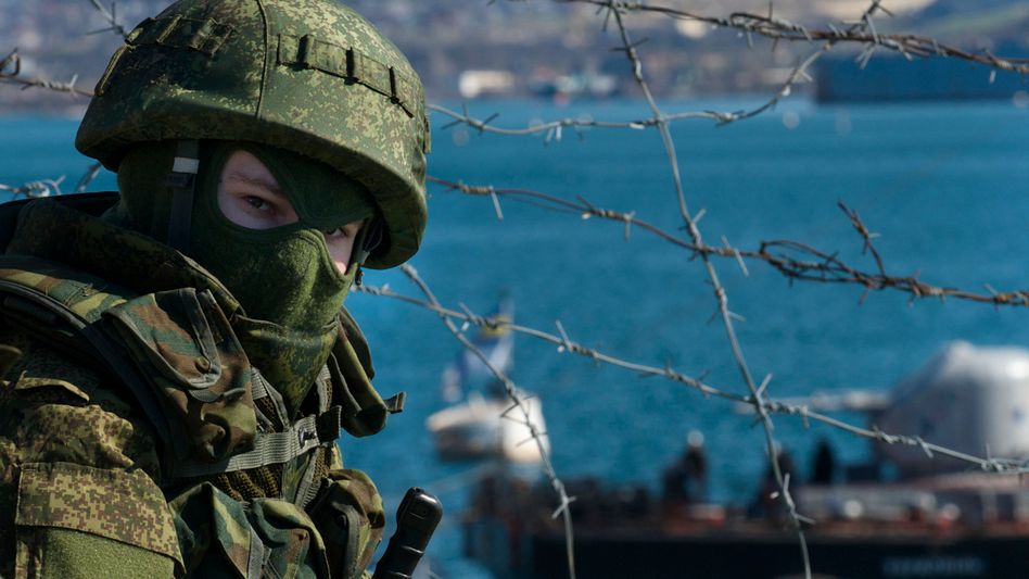 A Russian soldier at Sevastopol on the Crimean Peninsula in Ukraine. Europe is trying to come up to a response to Russian aggression there.