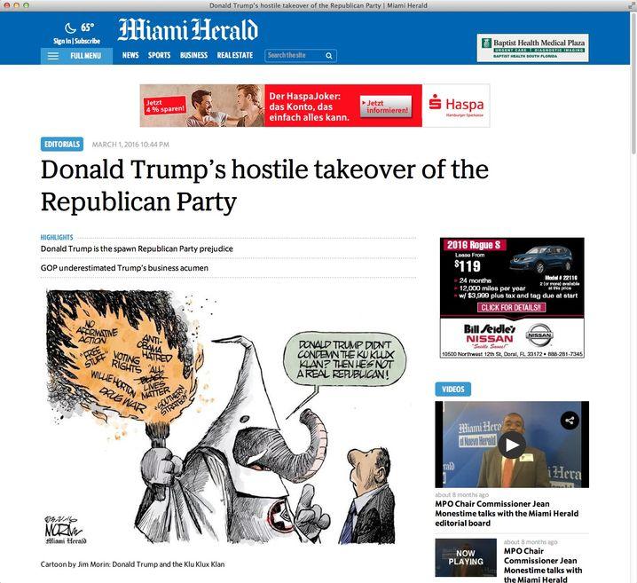 """Der """"Miami Herald"""" sieht Trump kritisch"""
