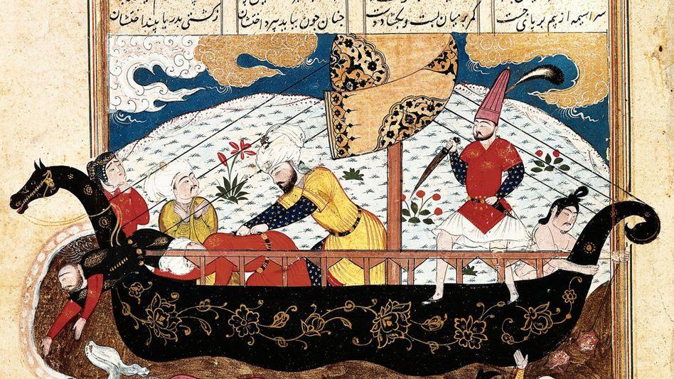 Tradition: Ibn Battuta war nicht der einzige Fernreisende. Auch Ali Ibn Abi Talib, Schwiegersohn Mohammeds, soll Fantastisches erlebt haben (Iranisches Manuskript, um 1480).