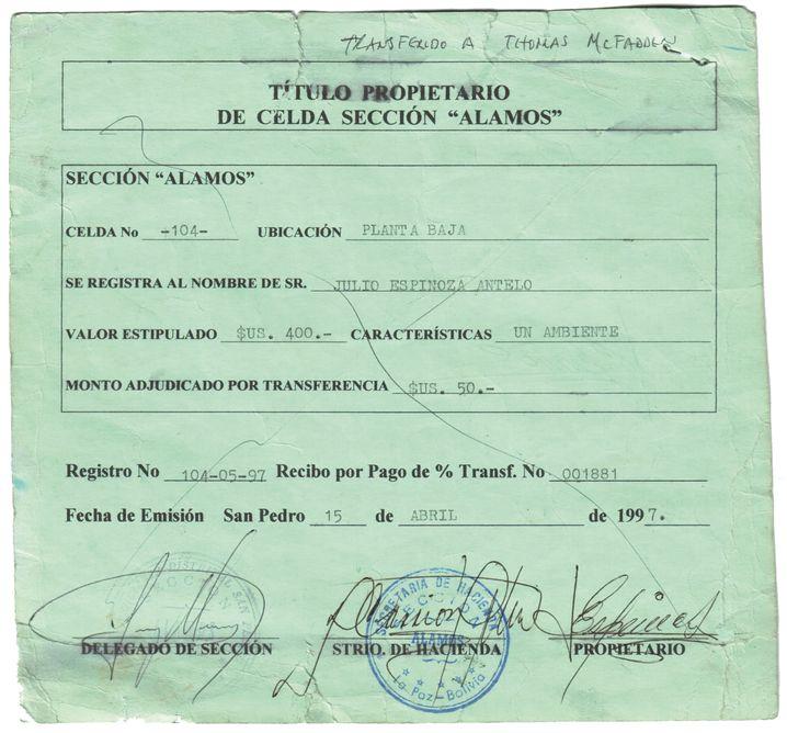 Quittung für eine Zelle in San Pedro (1997): In Dollar bezahlt