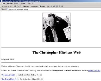 Vom Nein-Sager zum Ja-Sager: Website des US-Kolumnisten Christopher Hitchens