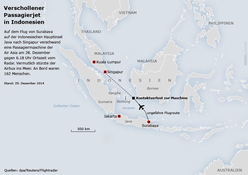 Karte Flug Air Asia QZ8501 - Verschollen Indonesien