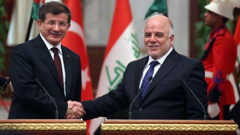 Türkischer Premier Davutoglu (l.) mit irakischem Kollegen Abadi: Gemeinsame Sachen?