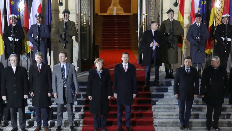 German Chancellor Angela Merkel and Polish Prime Minister Mateusz Morawiecki