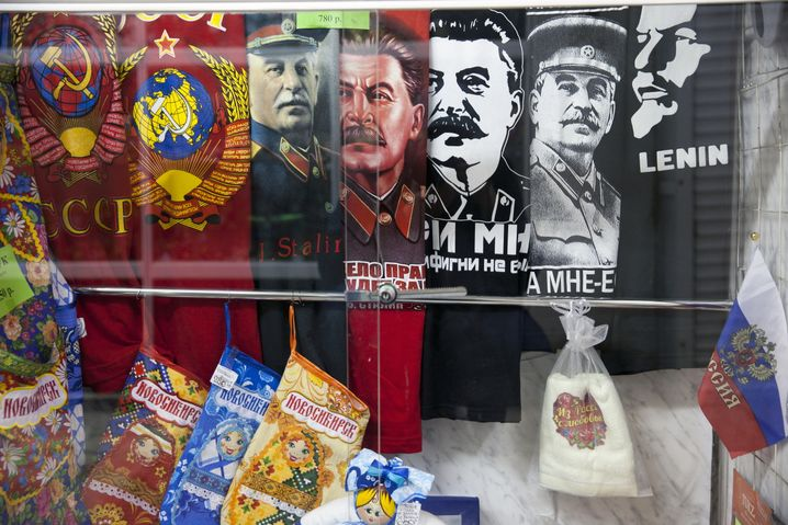 Stalin souvenirs on offer in Novosibirsk.
