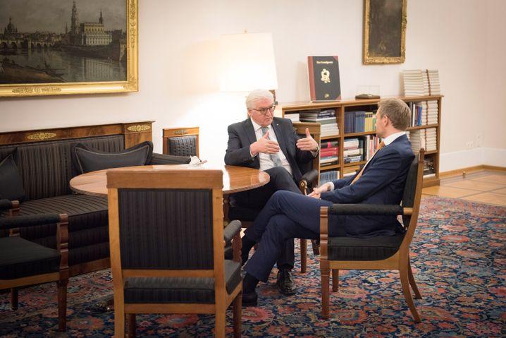 Bundespräsident Steinmeier empfing am Dienstag Lindner im Schloss Bellevue