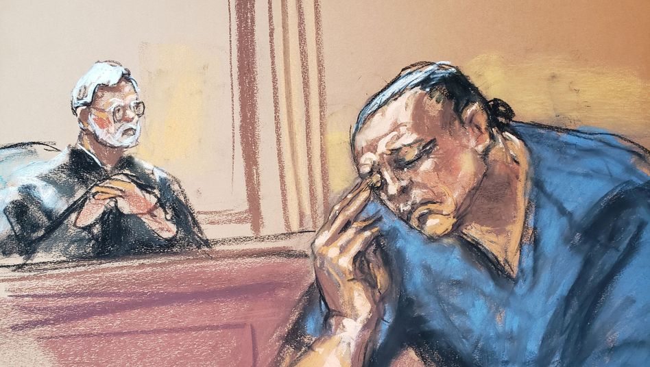 Gerichtszeichnung von Cesar S. vor Gericht