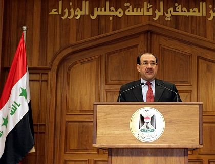 Iraq#s Prime Minister Nuri al-Maliki delivers a speech in Baghdad on Sunday. He has been lashing out at his critics.