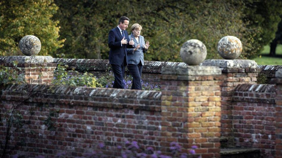 Regierungschefs Cameron, Merkel auf dem Landsitz Chequers