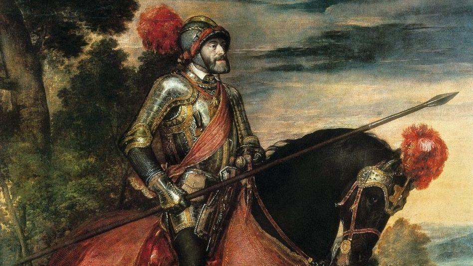 KampferprobtDestriere waren nicht groß, aber stark. Rechte Seite: Kaiser Karl V. als Feldherr (Gemälde von Tizian, 1548).