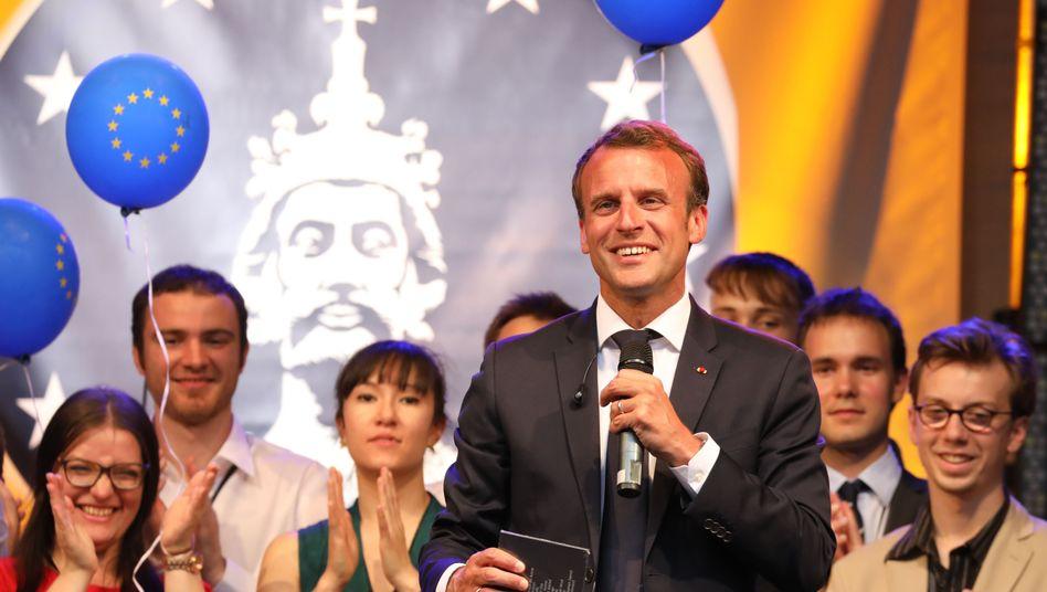 Emmanuel Macron in Aachen