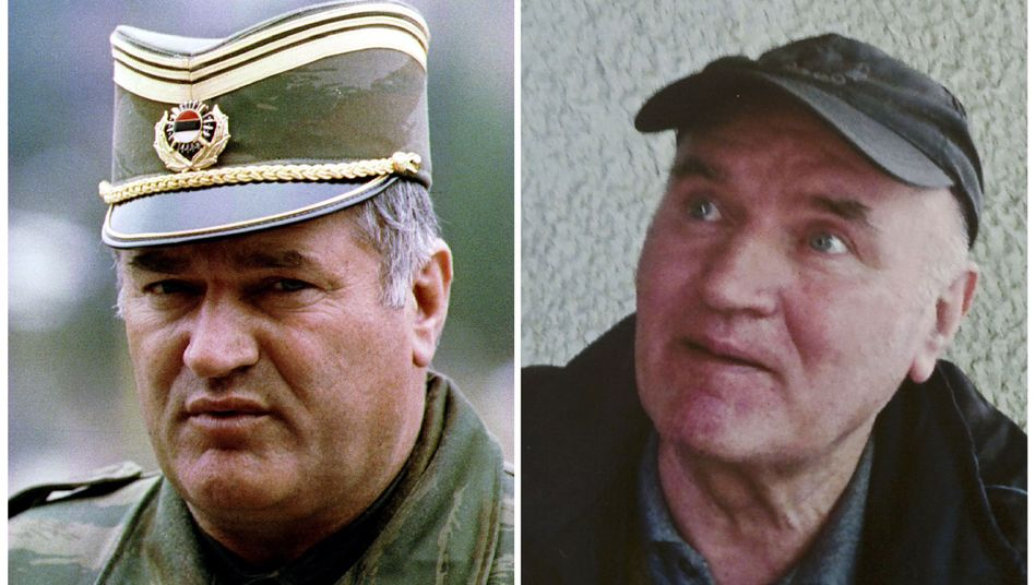 General Radko Mladic in 1993 and in Belgrade after he was arrested on May 26, 2011.