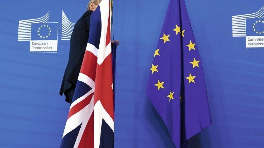 Britische Flagge im EU-Kommissionsgebäude in Brüssel