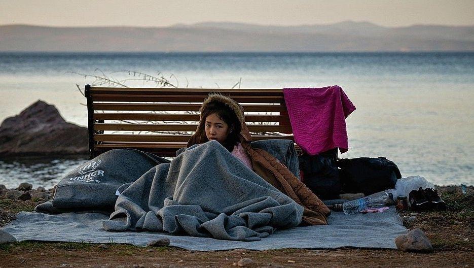 Geflohenes Kind auf Lesbos in Griechenland