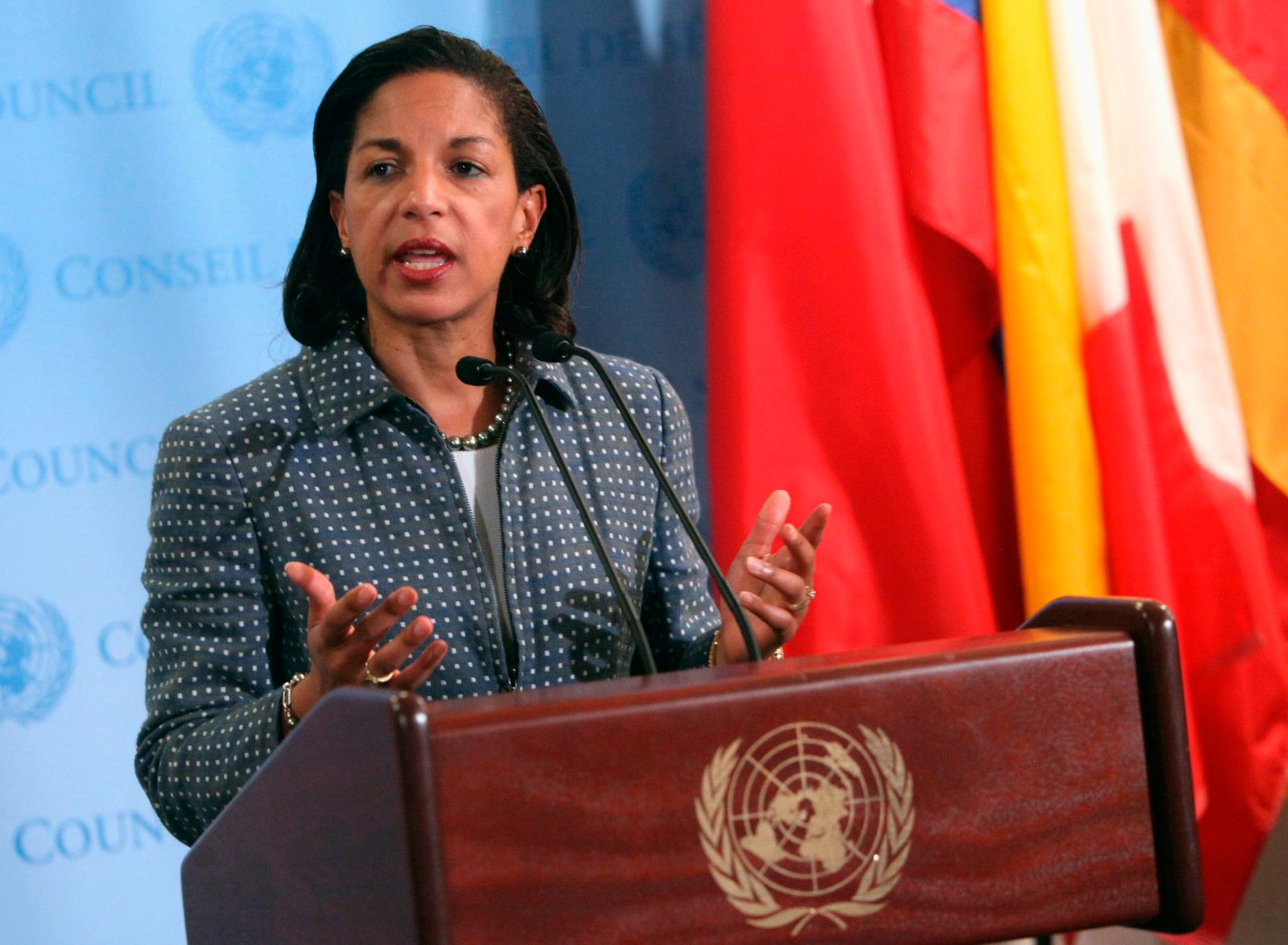 U.S. ambassador to the U.N. Susan Rice speaks with the media after Security Council consultations at U.N. headquarters in New York