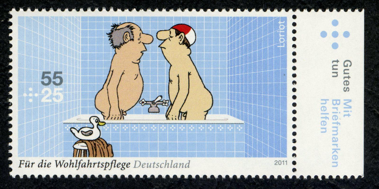 EINMALIGE VERWENDUNG Loriot Briefmarke / Badewanne