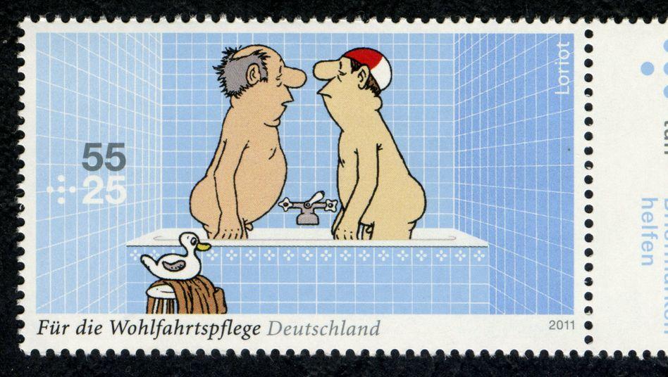 Loriot-Zeichnung von zwei Männern in einer Badewanne als Briefmarke