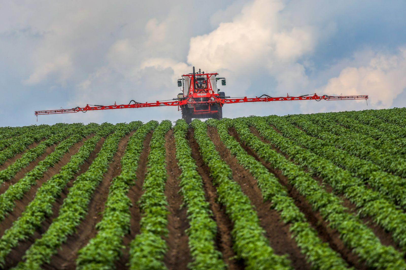 Landwirt spritzt Pflanzenschutzmittel aufs Feld