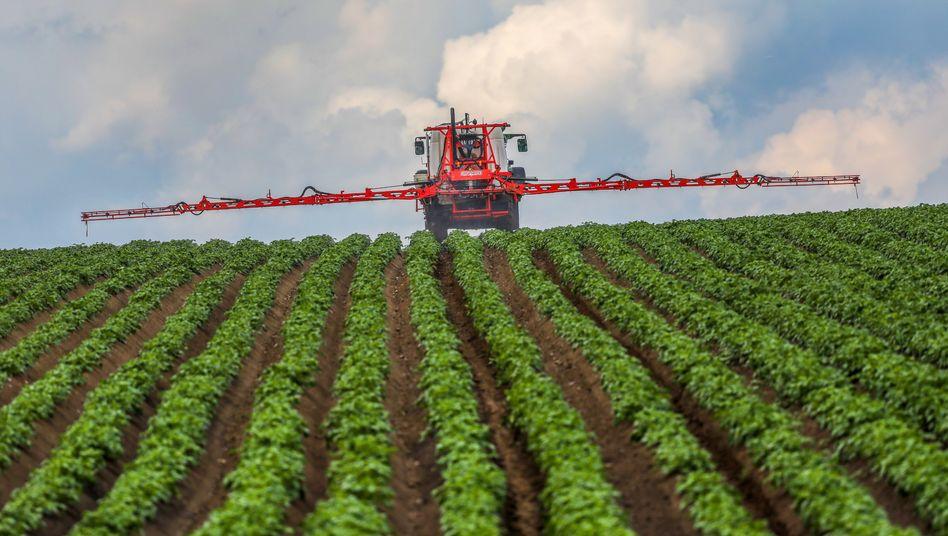 Landwirt verspritzt Pflanzenschutzmittel: Falsch dosiert, können die Chemikalien das Grundwasser verseuchen, Pflanzen und Tiere vergiften