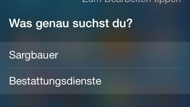 Siri-Screenshot: Mittlerweile wird die Frage anders beantwortet