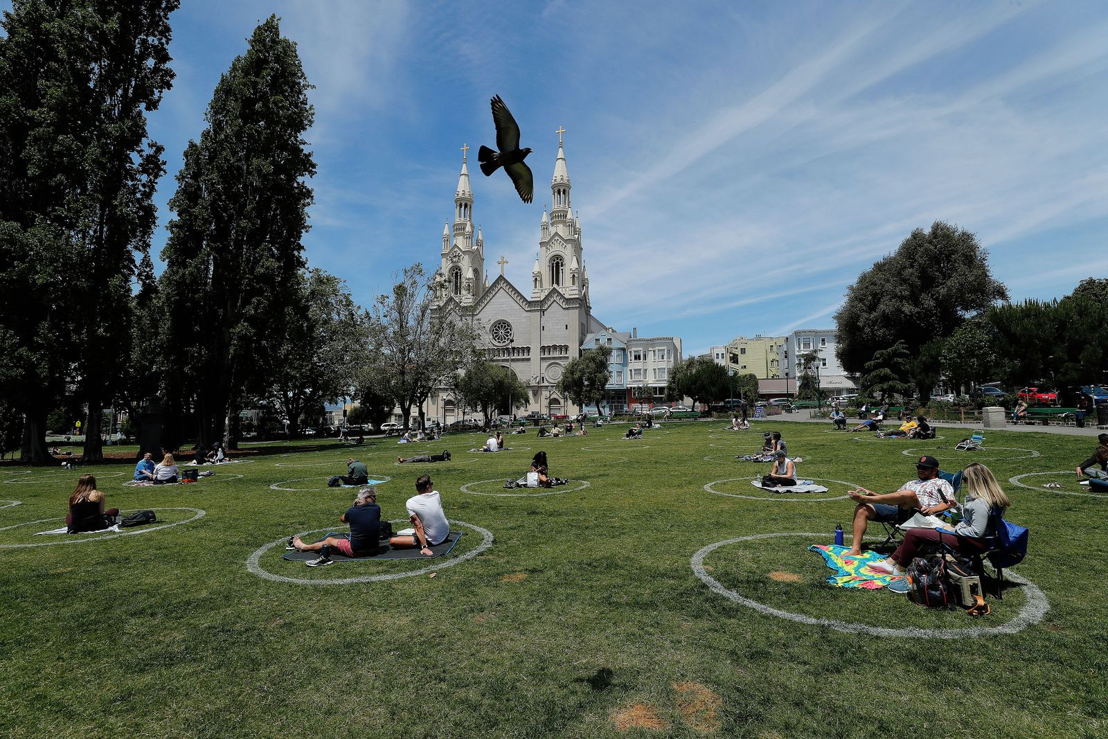 San Francsico Parks Social Distance Circles, San Francisco, USA - 22 May 2020