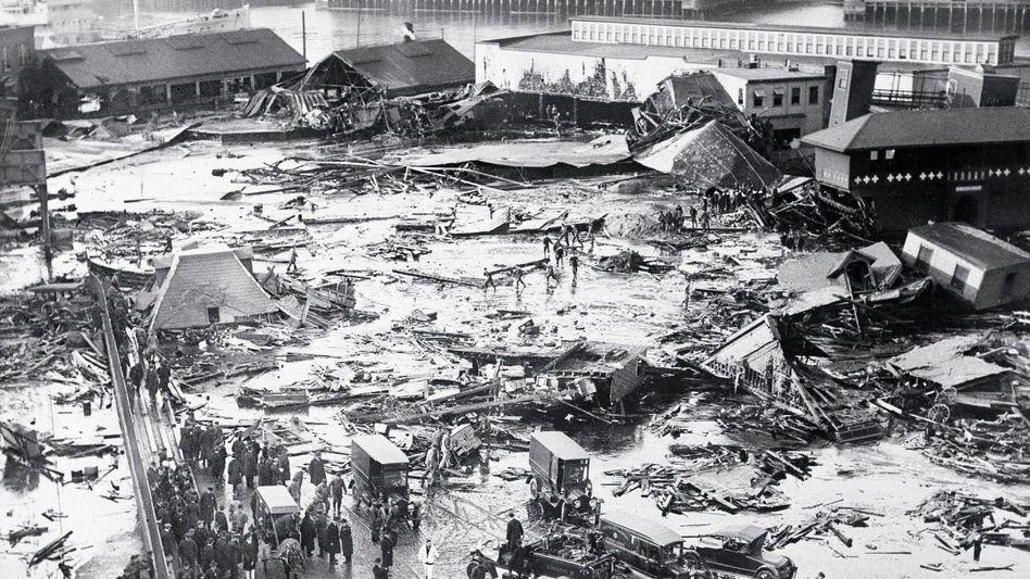 Verwüstung durch Melasseflut 1919: Ein Feuerwehrmann fiel, strampelte, erstickte schließlich