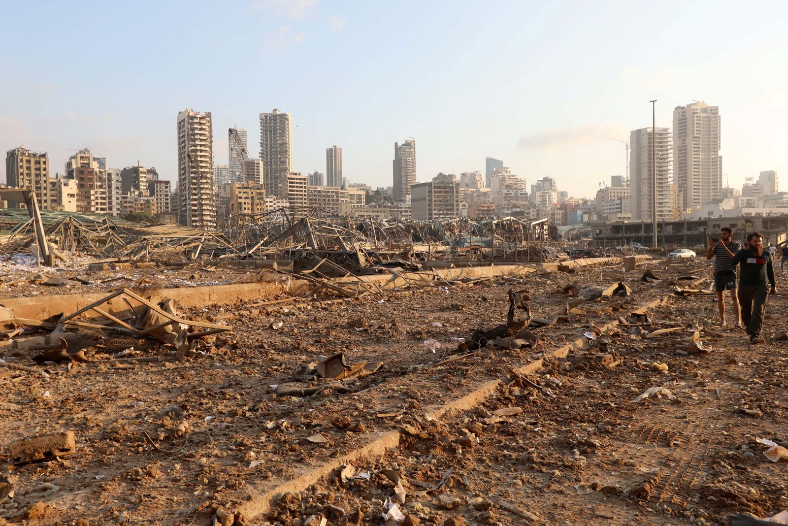 Site of an explosion in Beirut