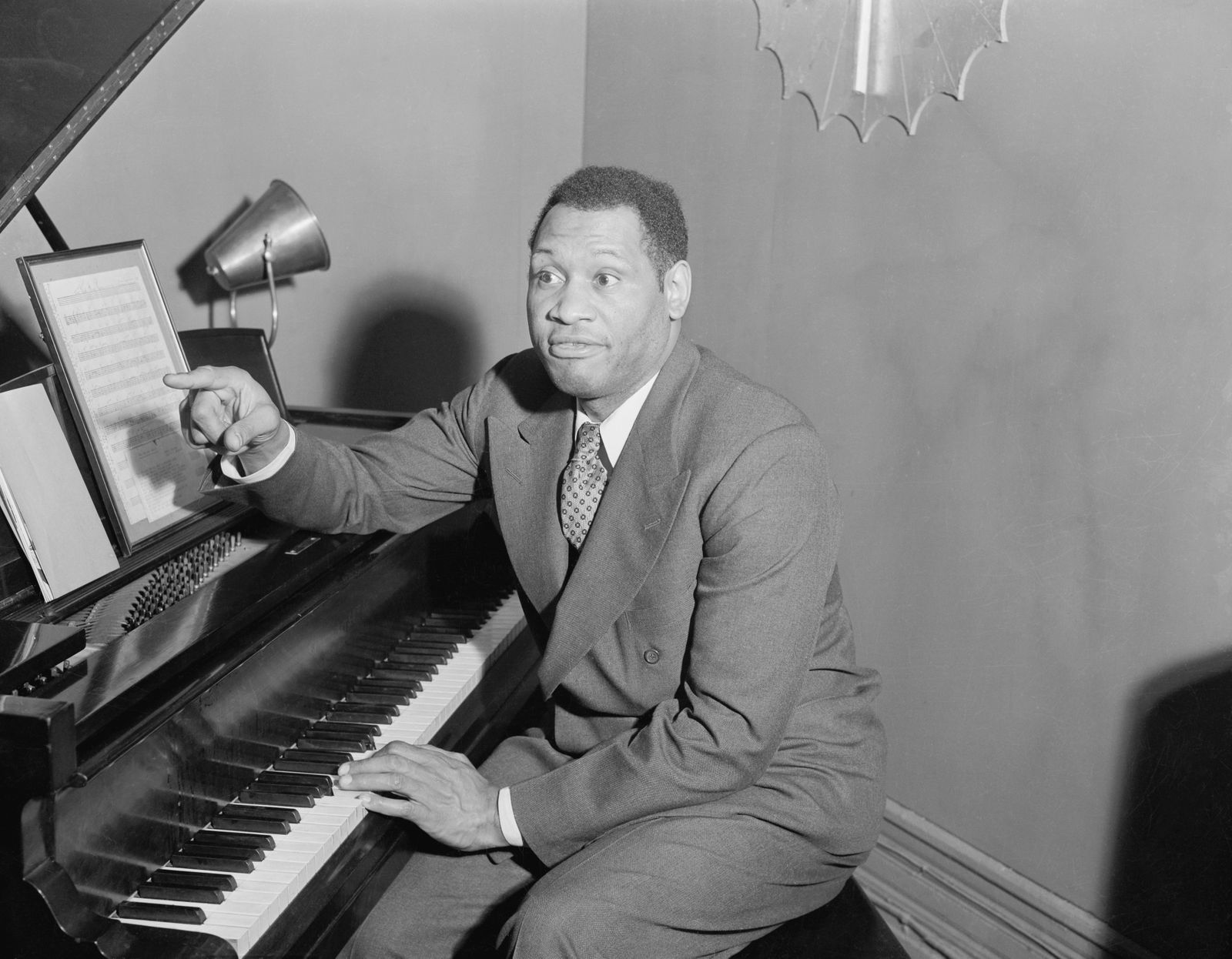 Paul Robeson Sitting at Piano