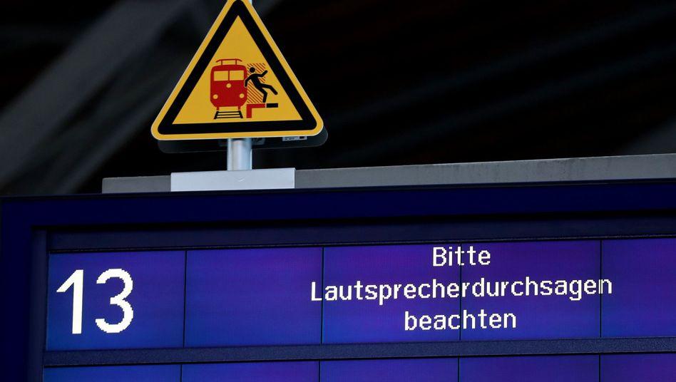 Anzeige der Deutschen Bahn