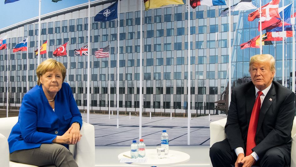 Angela Merkel and Donald Trump at NATO headquarters in Brussels