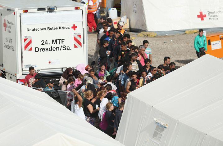 800 Menschen aus Krisengebieten wie Syrien und Afghanistan sind in Dresden in einer Zeltstadt untergekommen