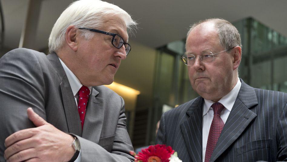 SPD-Parteimitglieder Steinmeier und Steinbrück: Wer wird Kandidat?