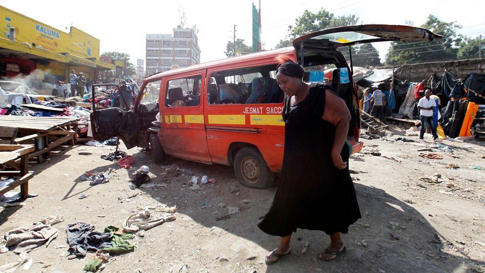 Tatort Gikomba-Markt in Nairobi: Offenbar explodierten selbst gebaute Sprengsätze