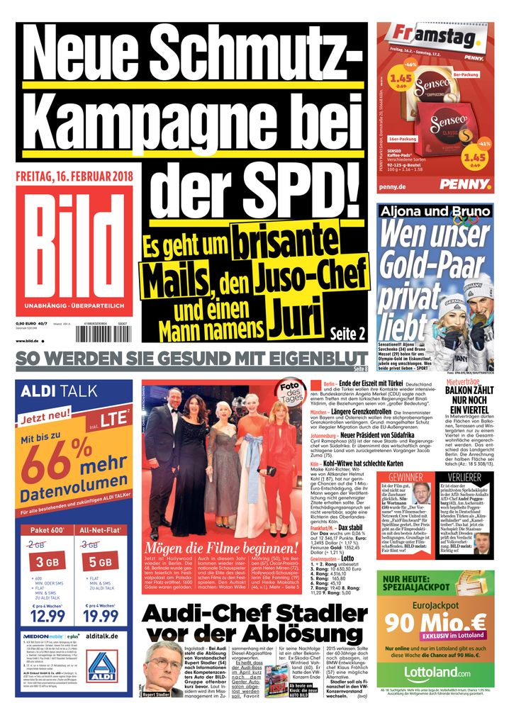 """""""Bild""""-Zeitungsausgabe vom 16.02.18"""