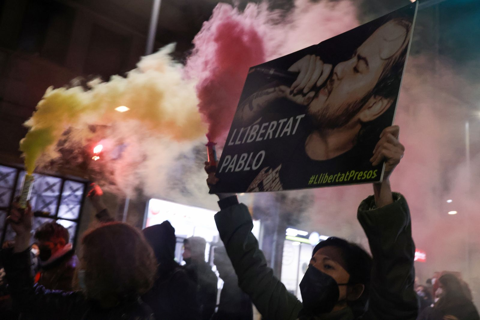 Protest against arrest of Spanish rapper Pablo Hasel in Barcelona