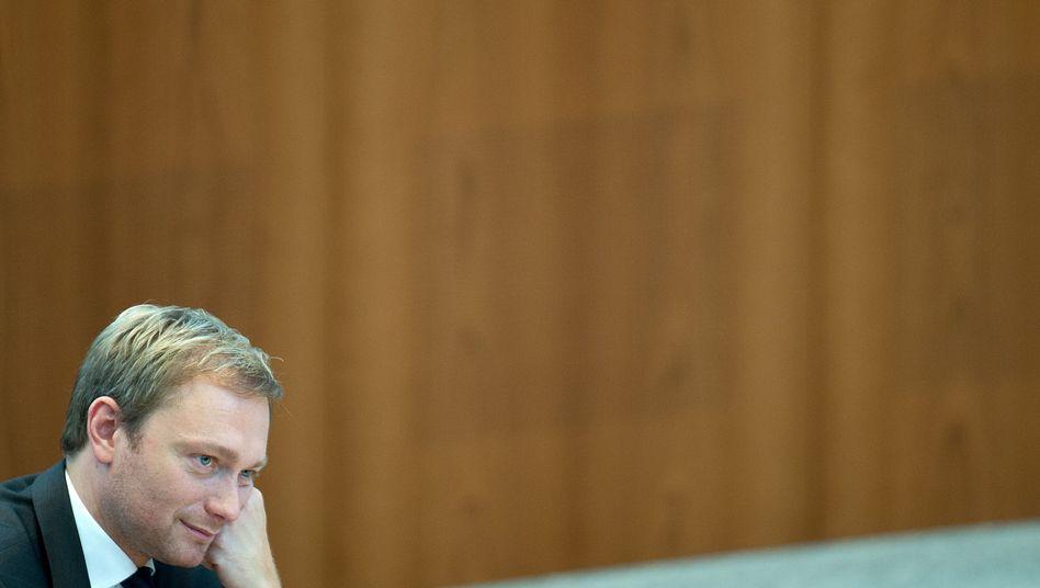 FDP-Chef Christian Lindner im Düsseldorfer Landtag (Archivbild): Ziemlich allein