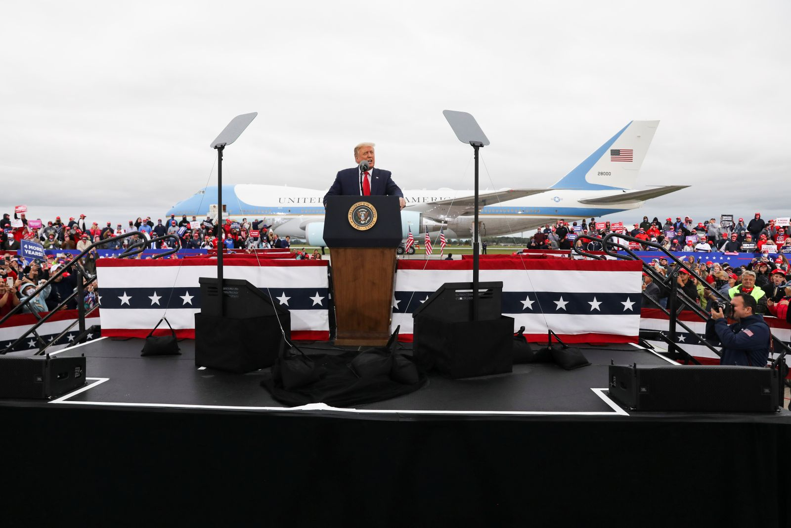 U.S. President Donald Trump speaks during a campaign event at MBS International Airport, in Freeland