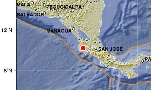 Zentrum des Bebens am roten Punkt (San José ist die Hauptstadt von Costa Rica): Heftige Erschütterung (Daten des GFZ Potsdam)