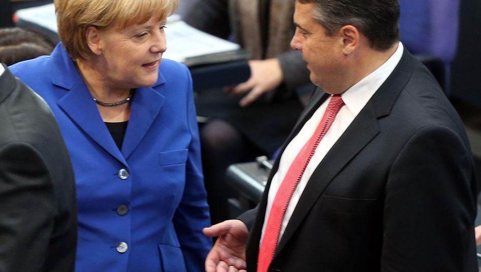 Merkel und Gabriel: Der Wirtschaftsflügel der Union sieht eine Koalition skeptisch