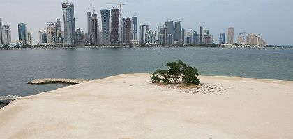 New construction in Doha: After years of spending domestically, Qatar is now considering foreign investments as the crisis drives down the value of blue-chip firms in Europe.