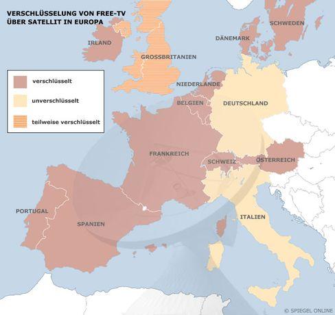Free-TV via Satellit: Verschlüsselung dominiert in Europa