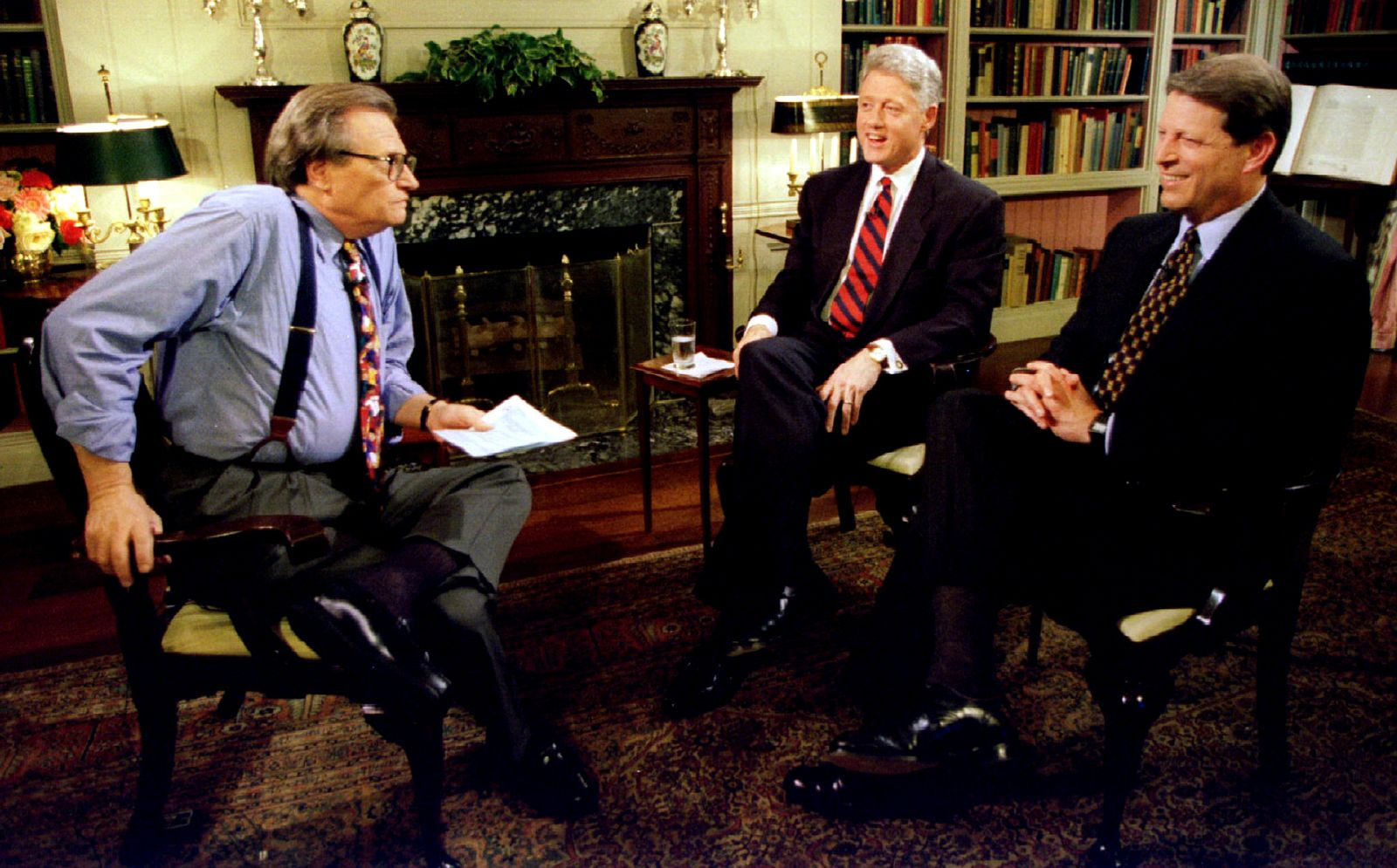 FILE PHOTO: President Clinton and Vice-President Al Gore are interviewed by Larry King June 5 at the White House..