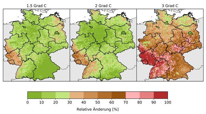 Änderungen der Dürredauern durch Erderwärmung