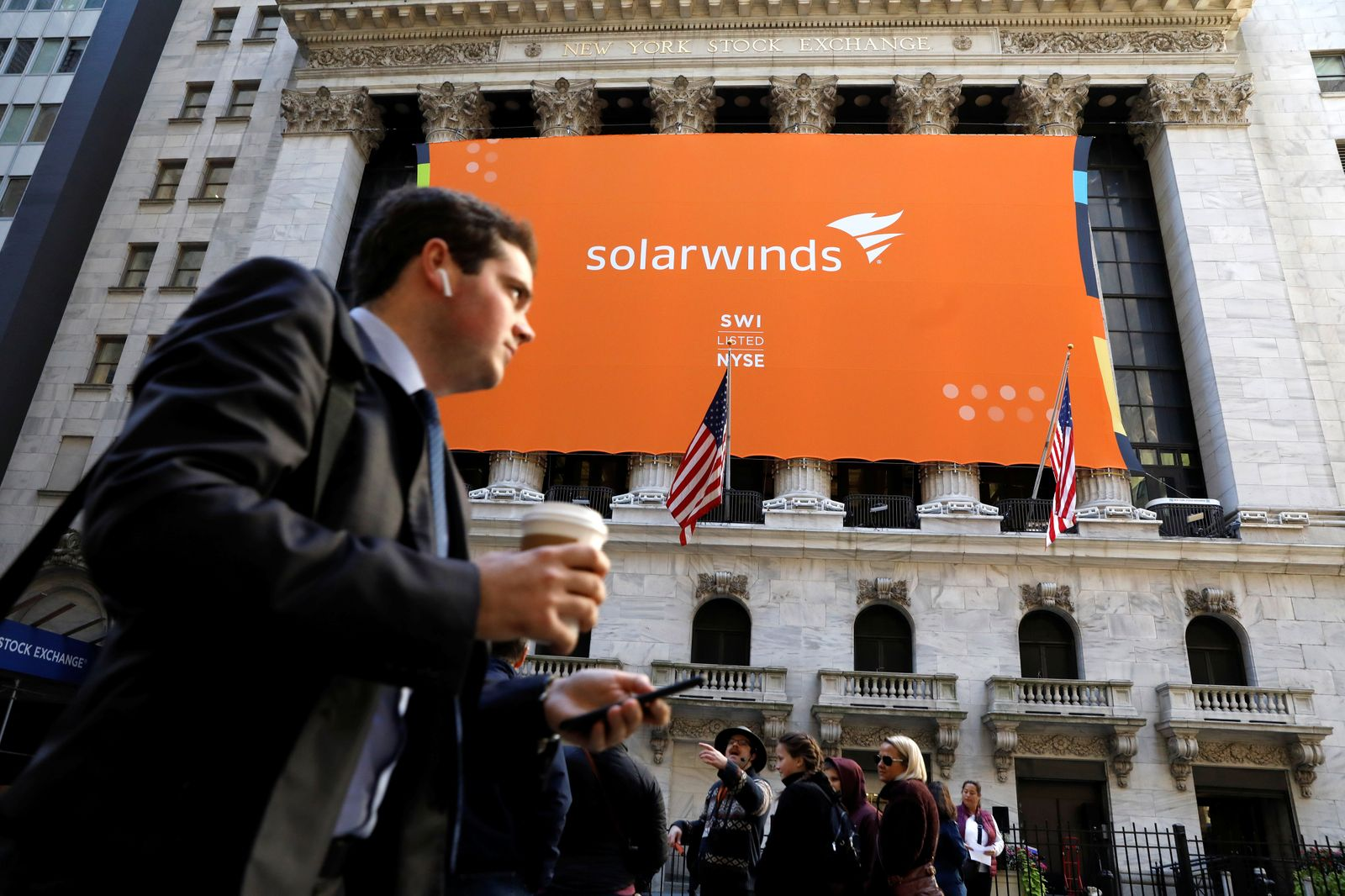 SolarWinds Corp. banner hangs on the company's IPO at the NYSE in New York